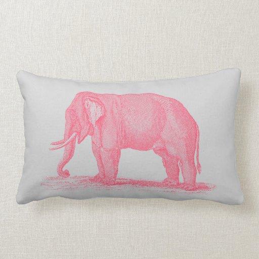 Elefante rosado del vintage en elefantes grises de cojin
