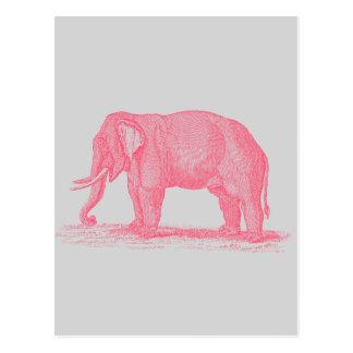 Elefante rosado del vintage en elefantes grises de tarjeta postal