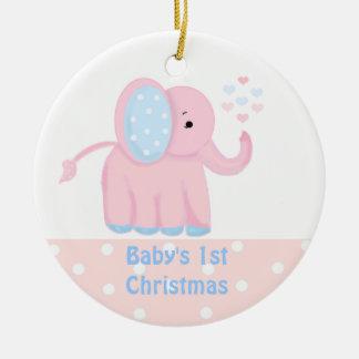 Elefante rosado dulce del primer navidad del bebé adorno de navidad