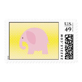 Elefante rosado en amarillo sello