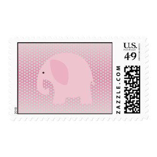 Elefante rosado en rosa franqueo