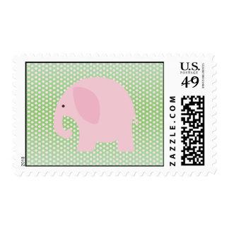 Elefante rosado en verde menta sello