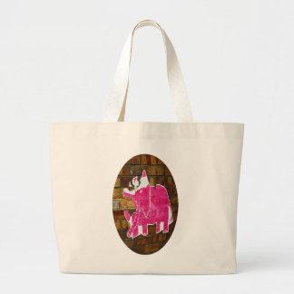 Elefante rosado hecho andrajos bolsa tela grande