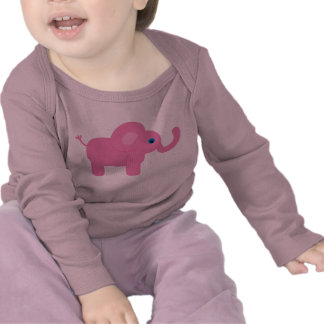 Elefante rosado lindo del bebé del dibujo animado camiseta