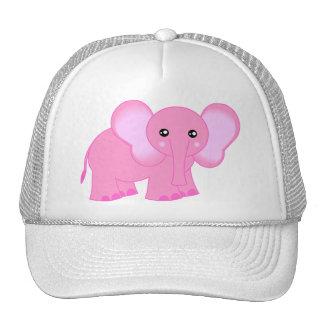 Elefante rosado lindo del bebé gorro de camionero