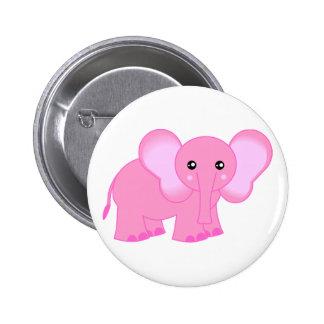 Elefante rosado lindo del bebé pin redondo 5 cm