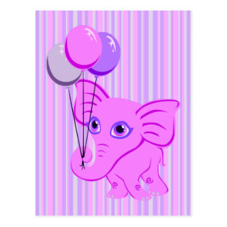 Elefante rosado lindo del bebé que sostiene los tarjetas postales