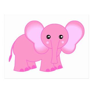 Elefante rosado lindo del bebé postal