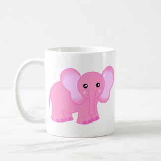 Elefante rosado lindo del bebé taza clásica