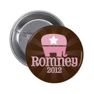 Elefante rosado lindo, Romney 2012 Pin Redondo De 2 Pulgadas