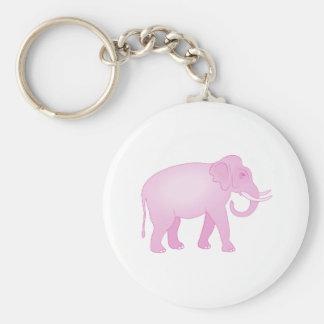 Elefante rosado llavero redondo tipo pin