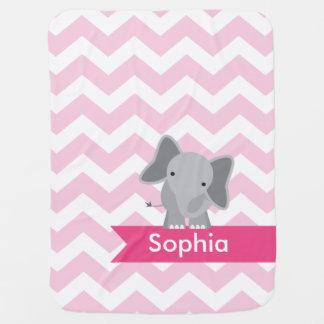 Elefante rosado personalizado de Chevron Mantas De Bebé