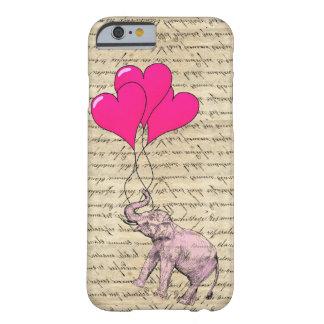 Elefante rosado que sostiene los globos funda de iPhone 6 barely there