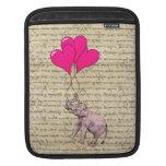 Elefante rosado que sostiene los globos mangas de iPad