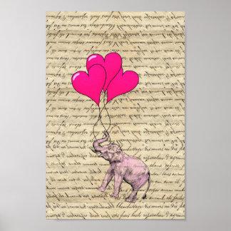Elefante rosado que sostiene los globos póster