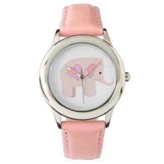 Elefante rosado relojes de pulsera
