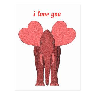 Elefante rosado romántico tarjeta postal