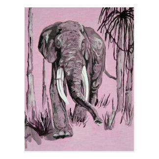 Elefante rosado tarjeta postal