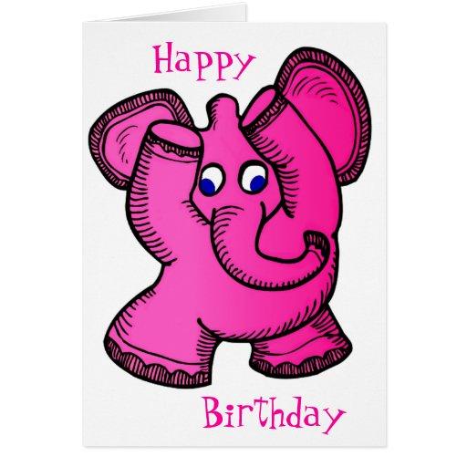 Elefante rosado tarjetón