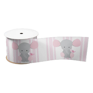 Elefante rosado w/Stripes de la niña infantil Lazo De Raso