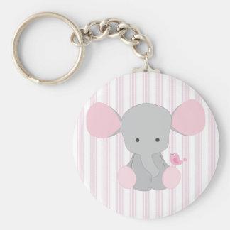 Elefante rosado w/Stripes de la niña infantil Llavero Redondo Tipo Pin
