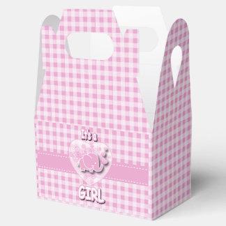 Elefante rosado y blanco del bebé de la tela cajas para regalos