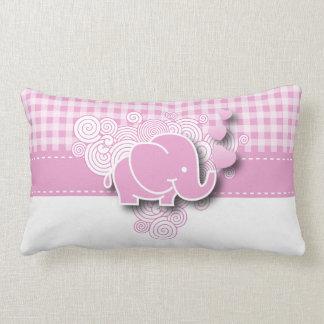 Elefante rosado y blanco del bebé de la tela cojín