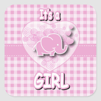 Elefante rosado y blanco del bebé de la tela pegatina cuadrada