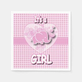 Elefante rosado y blanco del bebé de la tela servilletas de papel