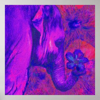 elefante rosado y púrpura póster