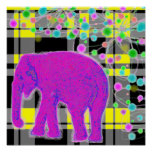 Elefante rosado y tela escocesa posters