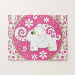 Elefante rosado y verde de lujo y rompecabezas flo