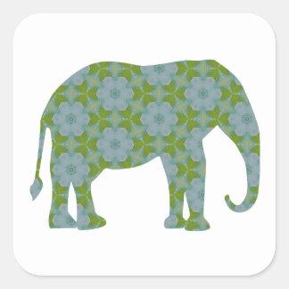 Elefante salvaje floral pegatina cuadrada