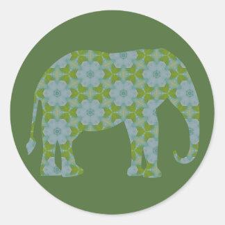 Elefante salvaje floral pegatina redonda