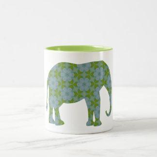 Elefante salvaje floral taza de dos tonos