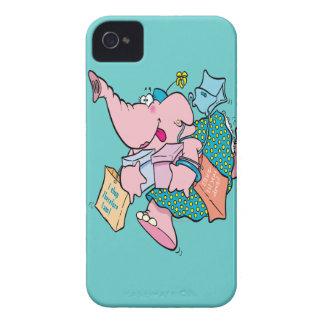 elefante shopaholic lindo de las compras carcasa para iPhone 4