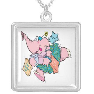 elefante shopaholic lindo de las compras colgante cuadrado