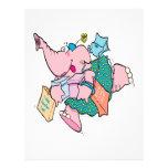 """elefante shopaholic lindo de las compras folleto 8.5"""" x 11"""""""