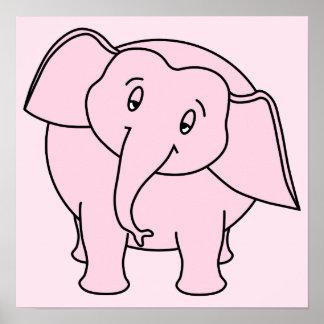 Elefante soñoliento rosado. Historieta Impresiones