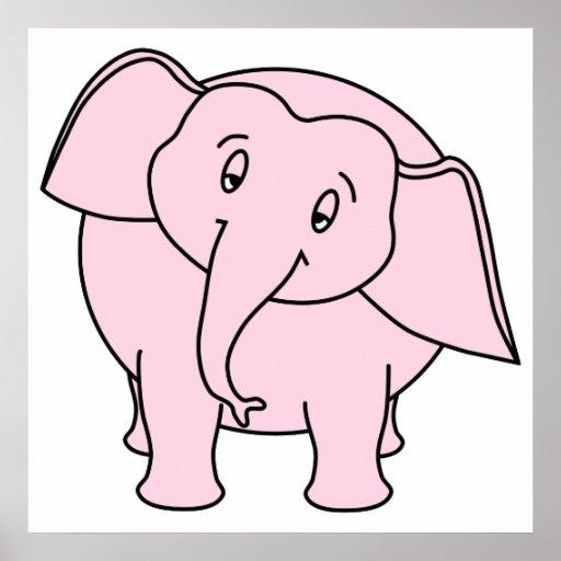 Elefante soñoliento rosado. Historieta Posters