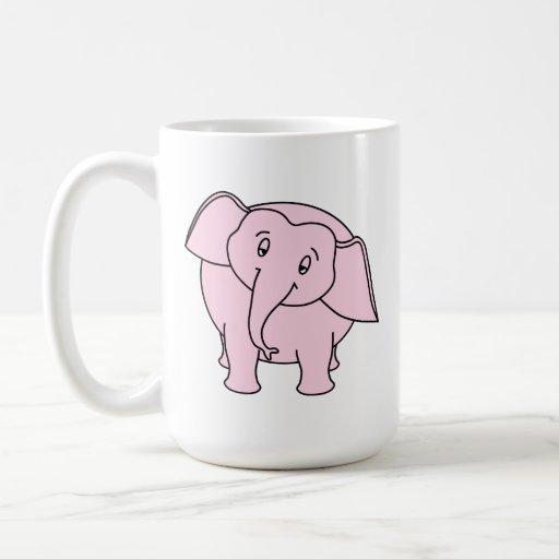 Elefante soñoliento rosado. Historieta Taza Básica Blanca
