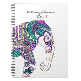 Elefante tribal de la alheña de la acuarela libreta
