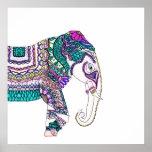 Elefante tribal de la alheña de la acuarela póster