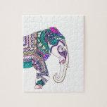 Elefante tribal de la alheña de la acuarela puzzle