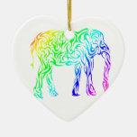 Elefante tribal del arco iris adorno navideño de cerámica en forma de corazón
