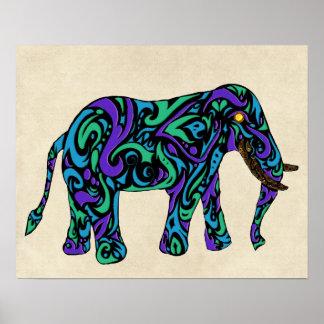 Elefante tribal del tatuaje en azul y verde púrpur poster