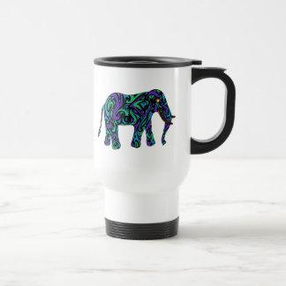 Elefante tribal del tatuaje en azul y verde taza térmica