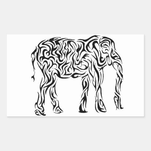 Elefante tribal negro pegatina rectangular