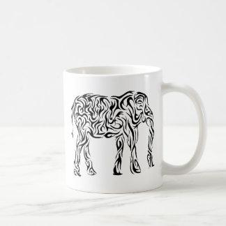 Elefante tribal negro taza
