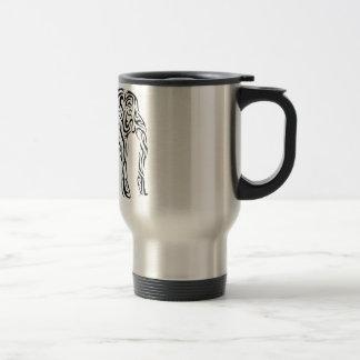 Elefante tribal negro taza térmica